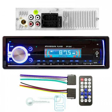Магнитола в машину автомагнитола и пультом SP-3242 ISO не съемная панель синяя подсветка