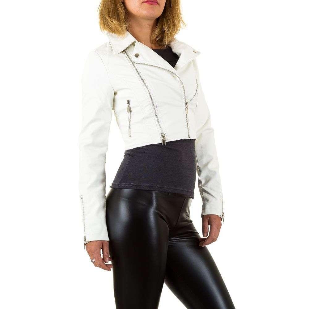 Короткая белая куртка косуха женская с молниями (Европа), Белый