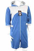 Халат женский назамке велюровый синего цвета