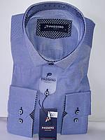 Рубашка мужская Passero vd-0020 голубая приталенная однотонная Турция текстиль Оксфорд