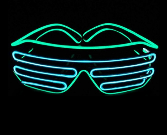 Очки светодиодные El Neon fluorescent green ice blue неоновые