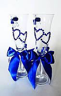 Свадебные бокалы, Синие сердца