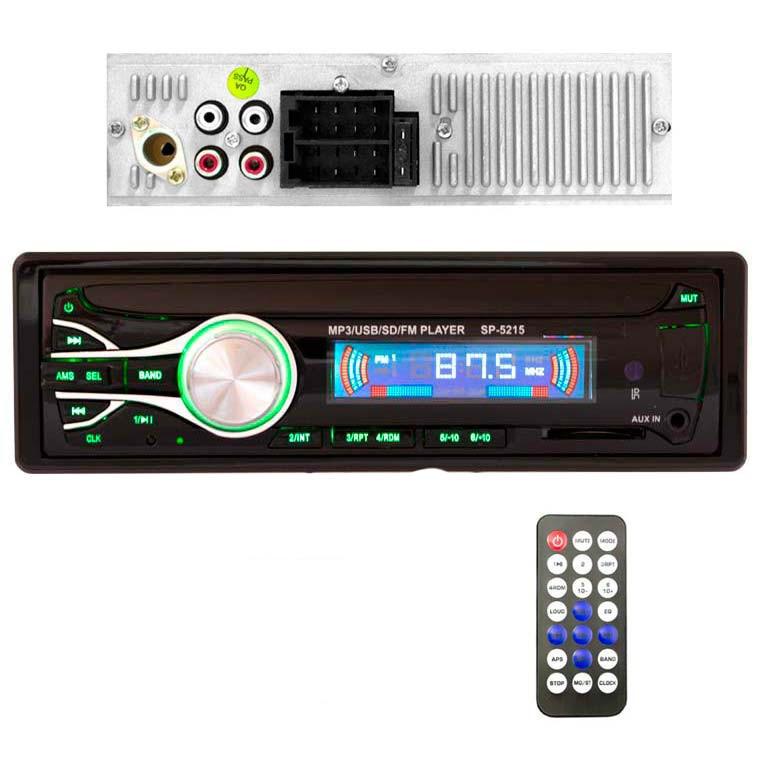 Магнитола в машину стандарная Car Audio SP-5215 USB SD магнитола зеленая подсветка с пультом