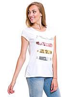 Белая женская футболка Lc Waikiki / Лс Вайкики с серебристыми и золотистыми полосками, фото 1