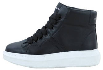 Женские кроссовки Alexander McQueen High Black/White (Александр Маккуин) черные