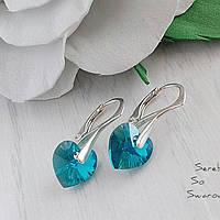 Сережки из серебра 925 пробы с подвесками Сваровски в форме сердца бирюзово-голубого цвета