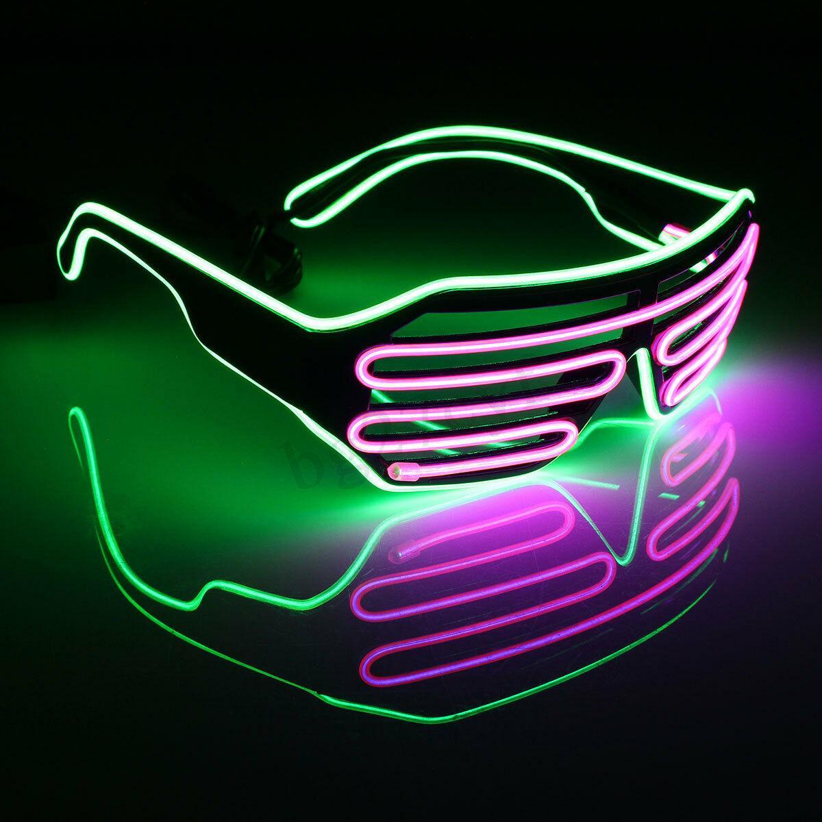 Очки светодиодные El Neon fluorescent green purple неоновые