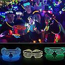 Очки светодиодные El Neon green purple неоновые, фото 6