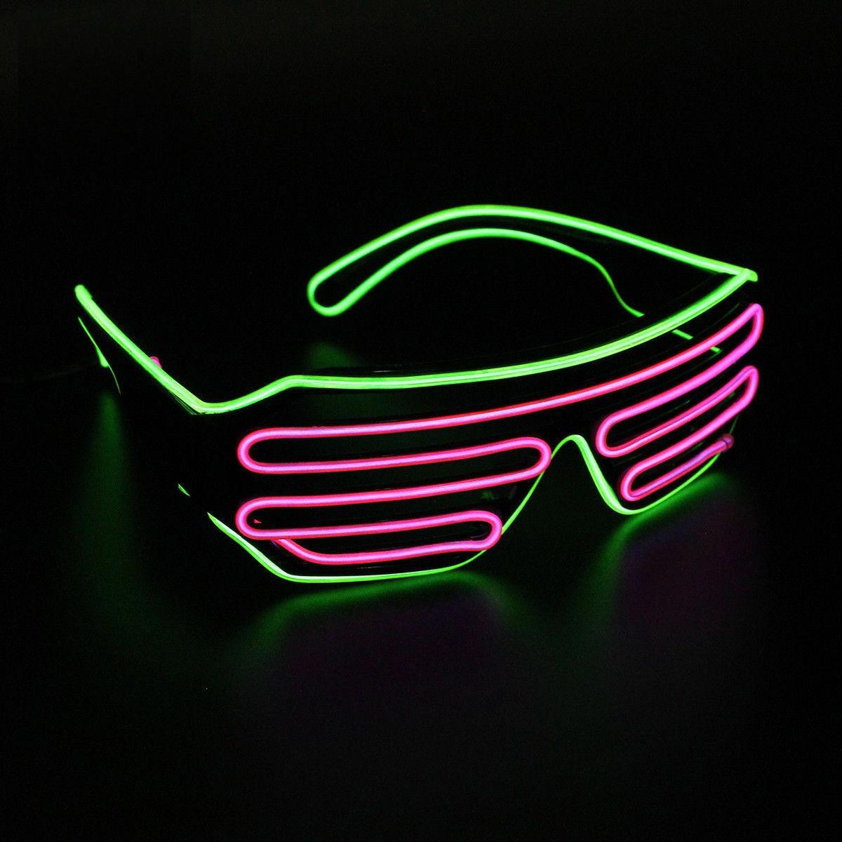 Очки светодиодные El Neon green purple неоновые