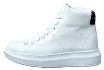 Женские кроссовки Alexander McQueen High White/Black (Александр Маккуин) белые
