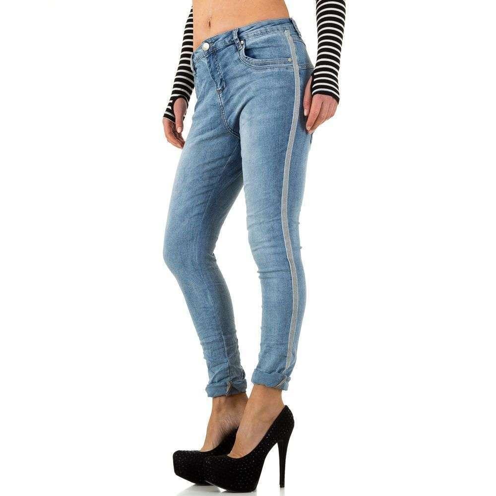 Женские джинсы скинни с лампасами по бокам Mozzaar (Европа) Синий