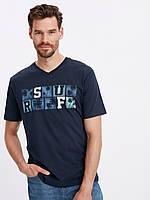 Синяя мужская футболка Lc Waikiki / Лс Вайкики с V- образным вырезом