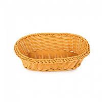 Плетённая корзинка для хлеба овальная коричневая Helios (7307)