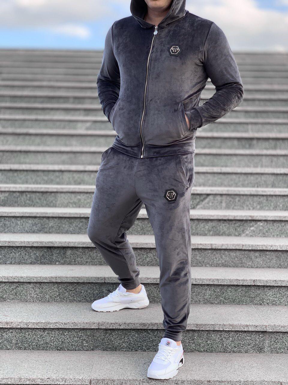 8c010e8f Спортивный костюм Philipp Plein D4775 серый велюровый - Брендовая одежда от  интернет-магазина «Trendy
