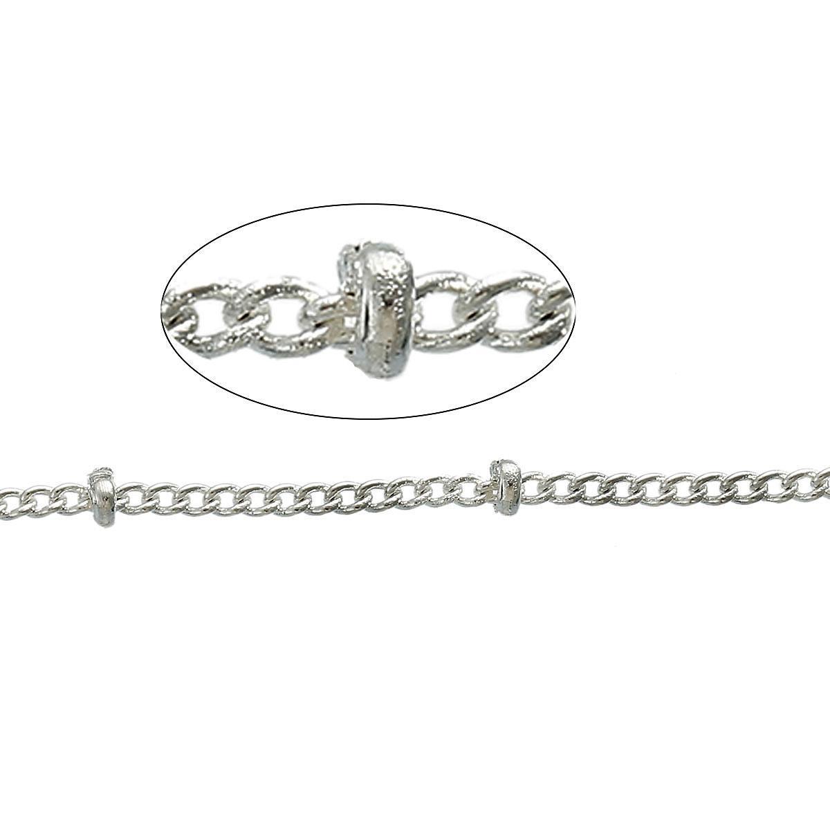 Цепочка на метраж, С Крепсами, Медь, Цвет: Серебро, 1.7 мм x 1.3 мм