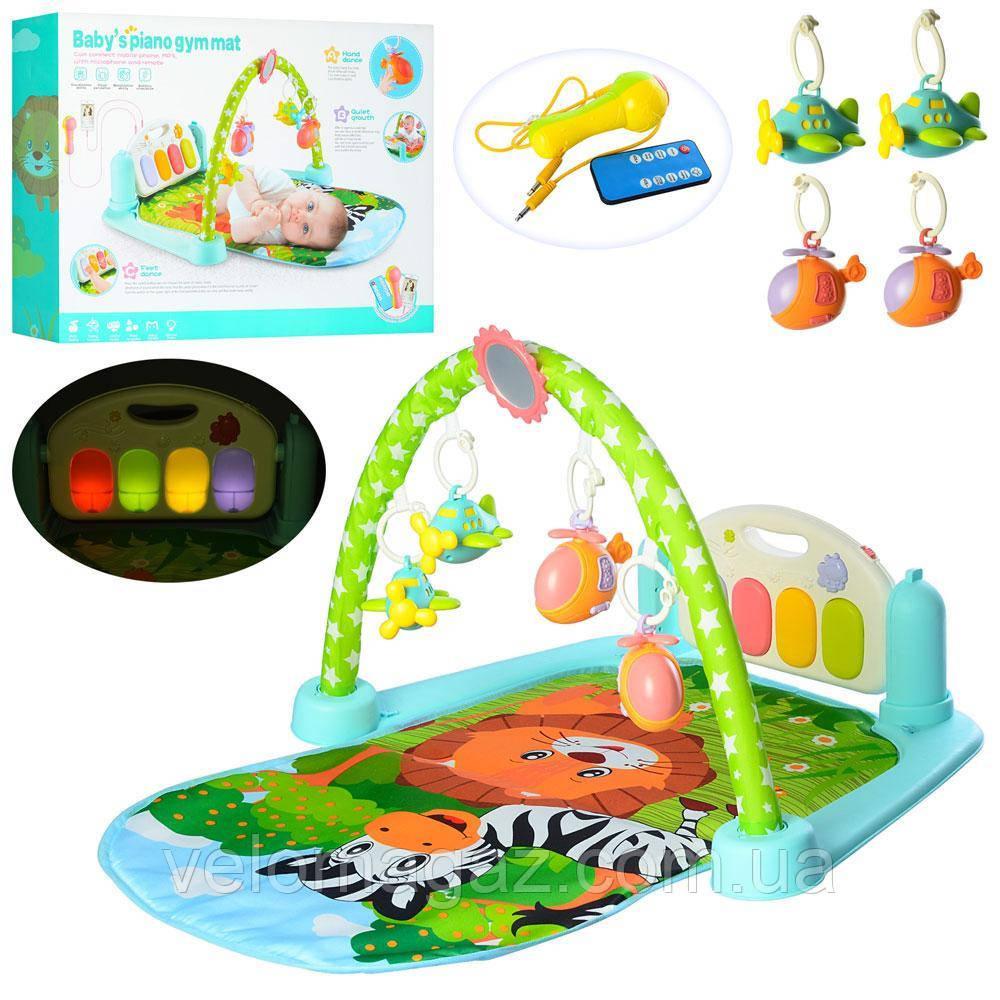 Развивающий коврик 720*440 мм для младенца 9913B с пианино, микрофон, MP3, пульт управления