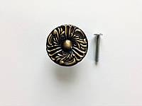 Мебельная ручка кнопка, античная латунная ручка Belwith, узор ромашка