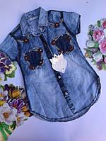 Джинсовая рубашка для девочек от 8 до 12 лет