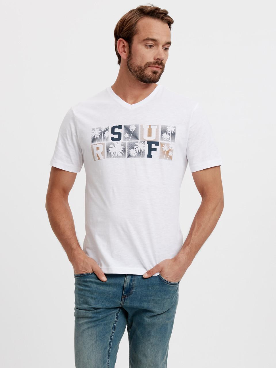 Белая мужская футболка Lc Waikiki / Лс Вайкики с V- образным вырезом