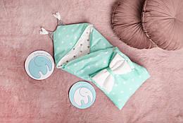 """Конверт-одеяло для малыша Добрый Сон """"Капюшон с ушками"""" 100*80 см бело-мятный, 06-07"""