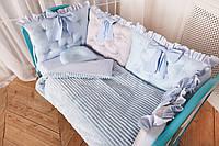 """Комплект постельного белья для новорождённых Добрый Сон """"Бусинка"""" голубой 10-01"""