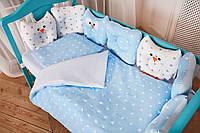 """Комплект постельного белья для новорождённых Добрый Сон """"Совушки"""" бело-голубой, 9-01"""