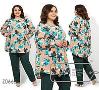 Брючный костюм больших размеров с расклешенной туникой из софта и прямыми брюками на резинке, 3 цвета
