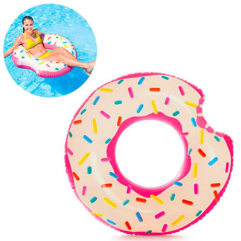 Надувной круг - Пончик, 107 - 99 см, ремкомплект, Intex 56265