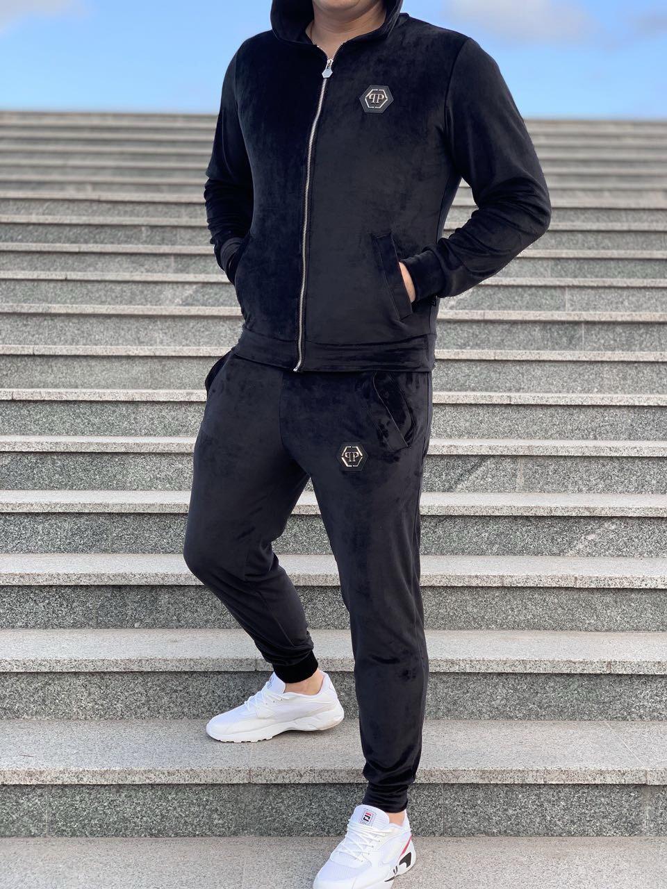 29fae972783c Спортивный костюм Philipp Plein D4742 черный велюровый - купить по ...