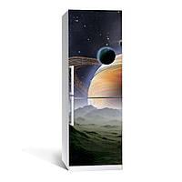 Наклейка на холодильник Космос 04 двухслойная (пленка виниловая самоклеющаяся, планеты)