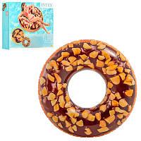 Надувной круг - Шоколадный Пончик, 114см, ремкомплект,Intex 56262