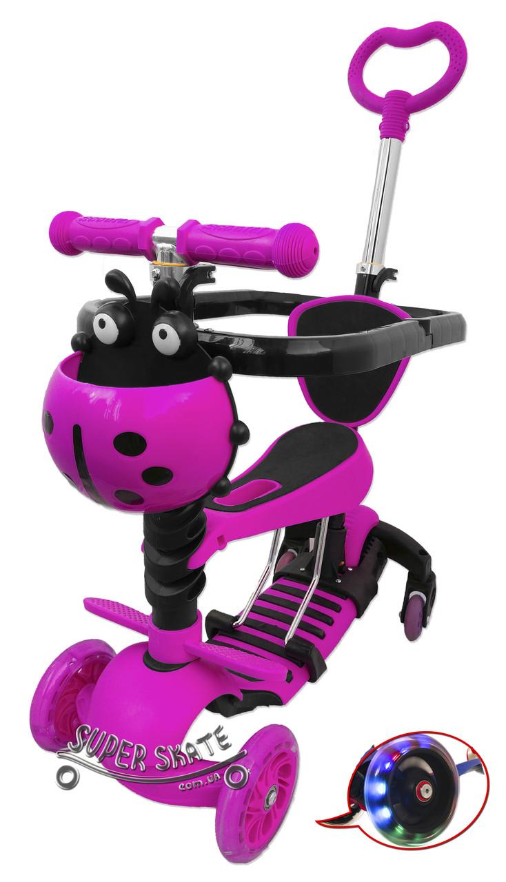 Самокат с ограничителем 5 в 1 Scooter - Ufo Plus - С родительской ручкой и бортиком - Розовый