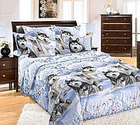 Комплект постельного белья ХАСКИ НА СНЕГУ 3D (Бязь, 100%хлопок) двухспальный