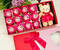Мыло ароматическое в виде бутонов роз, набор из 12 штук и игрушка!