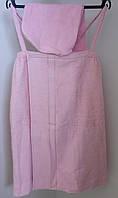 Сарафан женский махровый + чалма 70*140 см. розовый