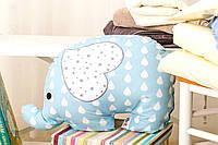 Декоративная подушка Слоник голубой/капля 45*38