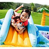 Надувной игровой центр Intex 57161 Аквапарк Джунгли 257 x 216 x 84 см, с горкой,пальмы, фламинго, обезья, фото 4