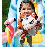 Надувной игровой центр Intex 57161 Аквапарк Джунгли 257 x 216 x 84 см, с горкой,пальмы, фламинго, обезья, фото 8