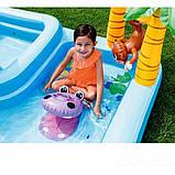 Надувной игровой центр Intex 57161 Аквапарк Джунгли 257 x 216 x 84 см, с горкой,пальмы, фламинго, обезья, фото 10