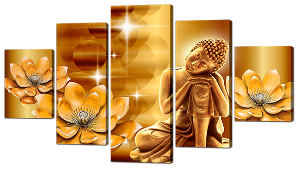 Модульная картина Interno Эко кожа Золотой Будда 108х60см (А867S)