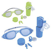 BW Набор для плавания 26002 (24шт) очки, беруши, клипса для носа, 2 цвета, колба, на листе,