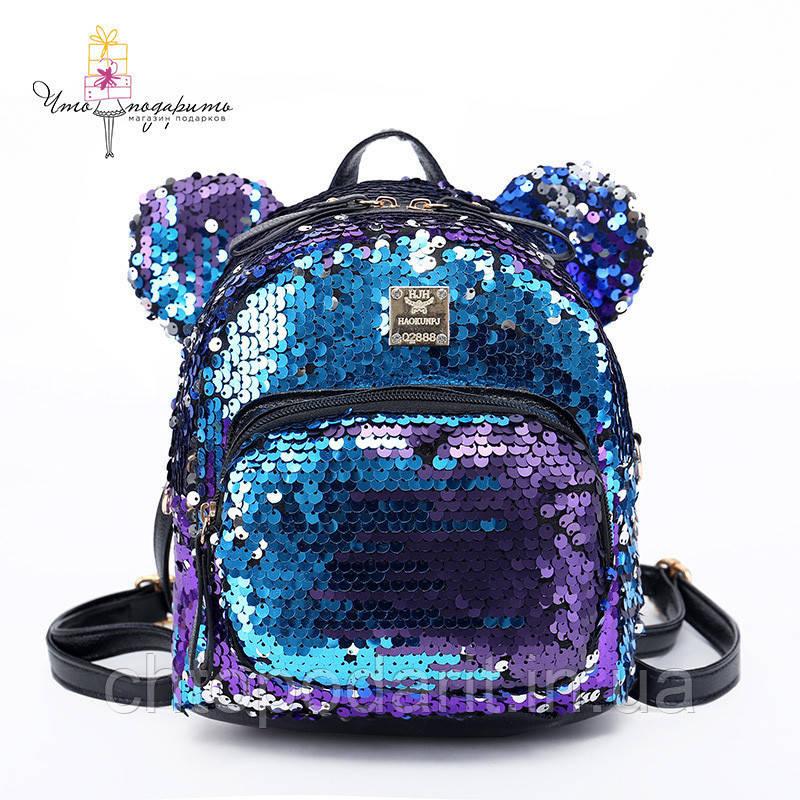 Рюкзак с пайетками Микки меняющий цвет  Код 10-6454