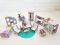 """Набор мебели NestWood """"СПАЛЬНЯ+ГОСТИНАЯ+ДЕТСКАЯ"""" для кукол Лол (LOL), 12ед."""