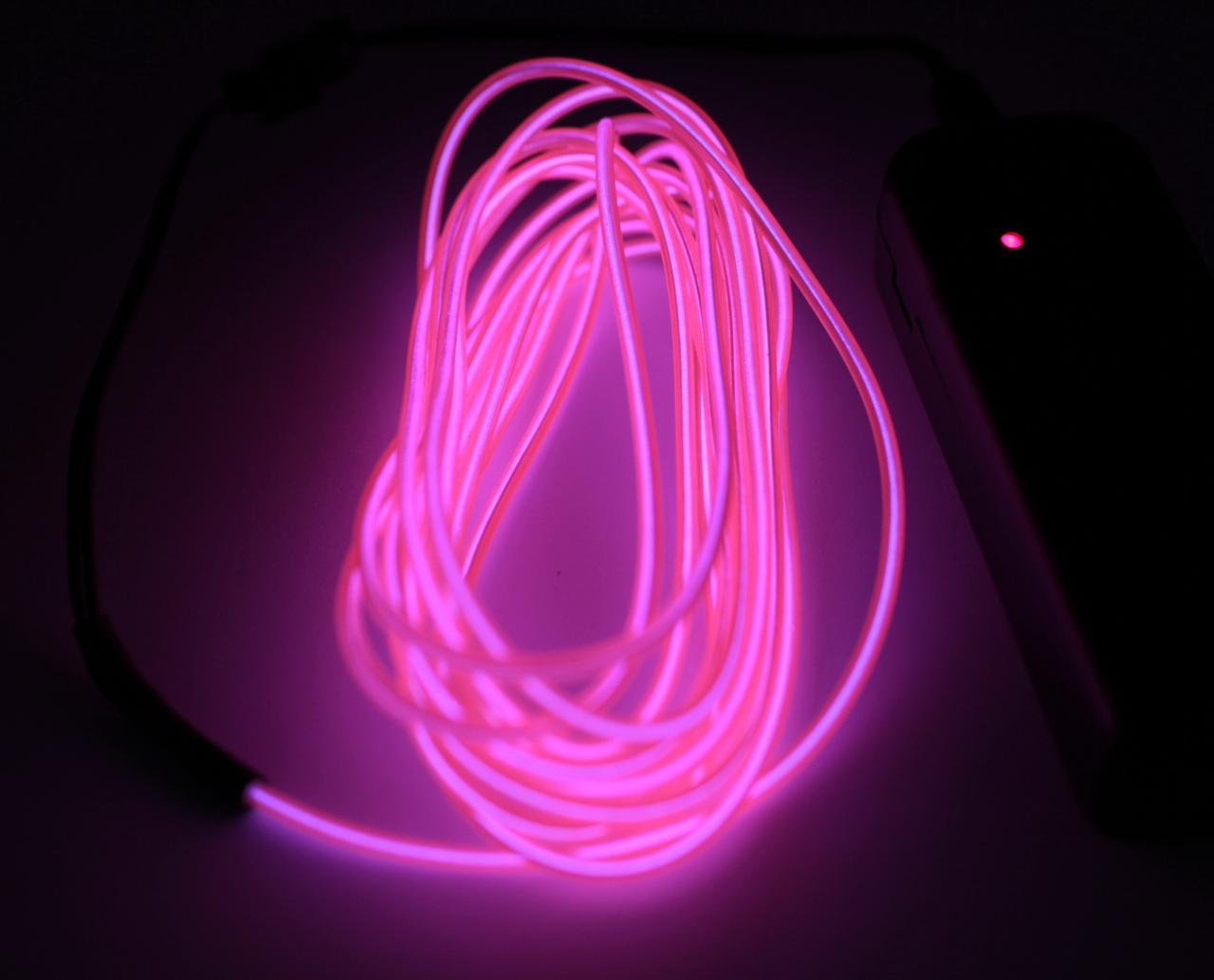 Холодный Неон Гибкая Неоновая Трубка Светящийся Шнур Светопровод 3м Комплект с Инвентором (Flex Neon Pink)