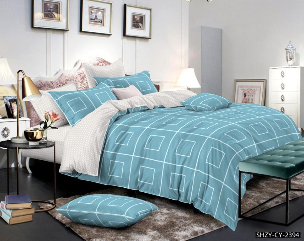 Семейный комплект постельного белья 150*220 из сатина Бирюзовая геометрия