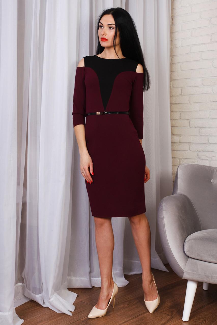 6085d555e84 Бордовое коктейльное платье с поясом - Оптово-розничный магазин одежды