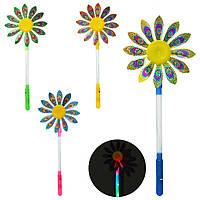 Ветрячок M 5738 (480шт) цветок2шт,св,разм.мал, диам17см, палочка34см,4цв,бат(таб),в кульке,17-34-2см