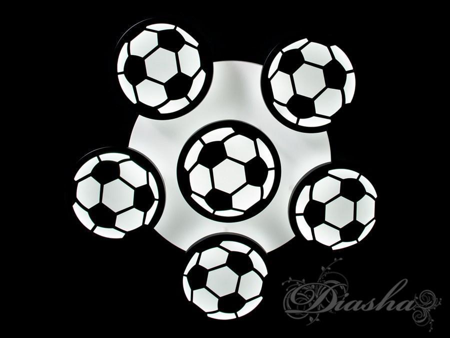 Светодиодная детская люстра для мальчика с мячами 8065/5+1BK