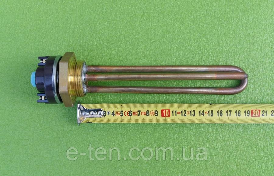 """Тэн прямой медный 1800W на гайке 1 1/4"""" (Ø42мм) / L=195мм + с терморегулятором (в комплекте)   Balcik, Турция"""
