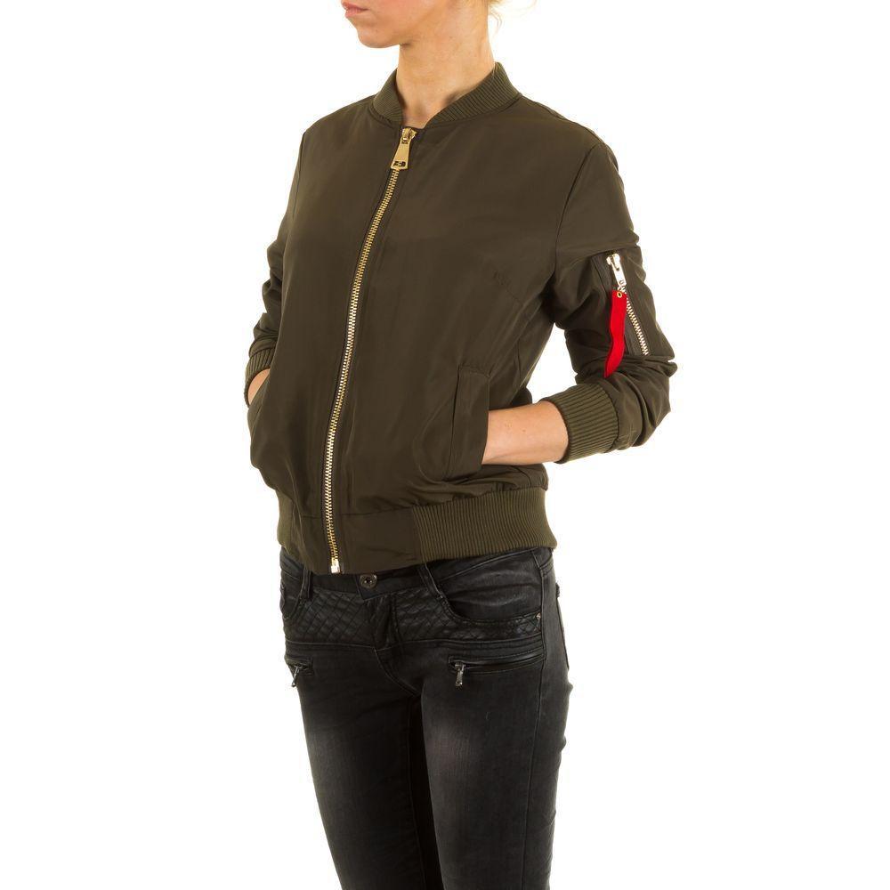 Бомбер женский с молнией на рукаве от бренда Shk Mode (Франция), Хаки
